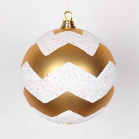 Gold Matte with White Glitter Chevron Commercial Size Christmas Ball Ornament 8' (200mm)