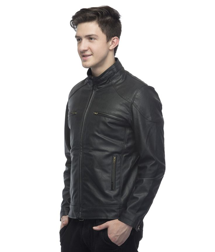 Lambency Black Full Sleeve Leather Biker Jacket