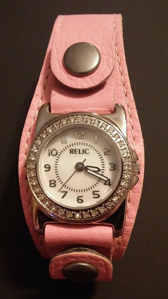 Relic by Fossil Ladies Watch JR3701 Pink Leather Band - NEEDS BATTERY  | eBay