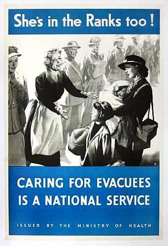 WW2 British poster encouraging women volunteers to take in children evacuated from London to rural areas.