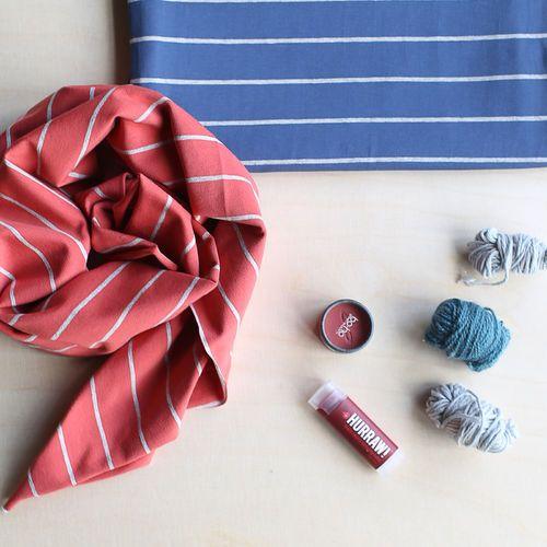 Stripe Jersey, Blue - Light Melange Gray | NOSH Women Autumn 2016 Fabric Collection is now available at en.nosh.fi | NOSH Women syysmalliston 2016 uutuuskankaat saatavilla verkosta nosh.fi