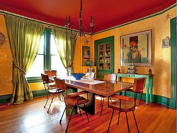 Red yellow green vibrant victorian dinning Victorian dining room colors