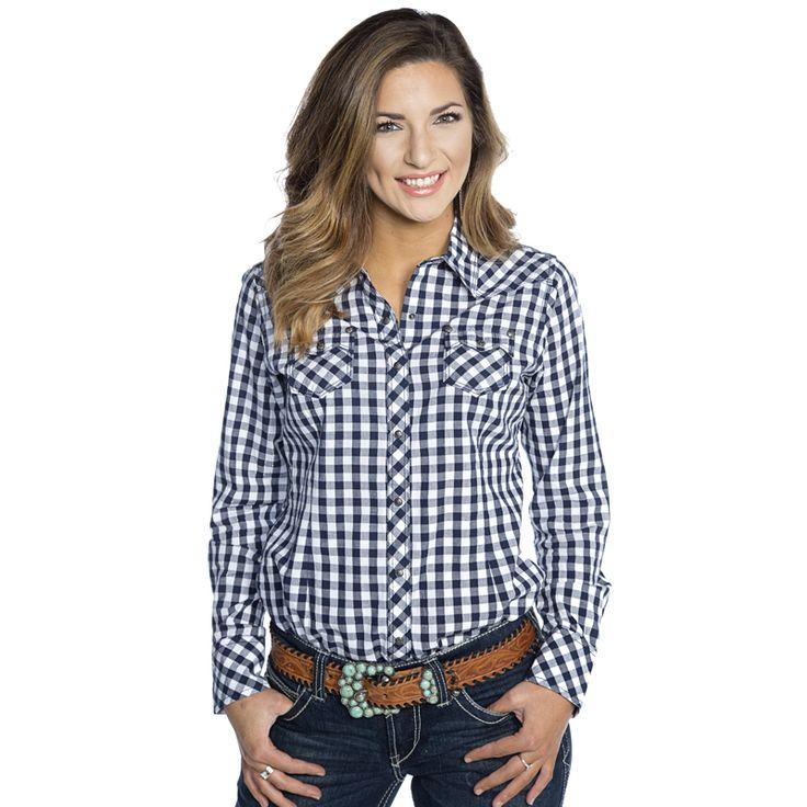 Women's Ariat Navy Gingham Button Up Shirt