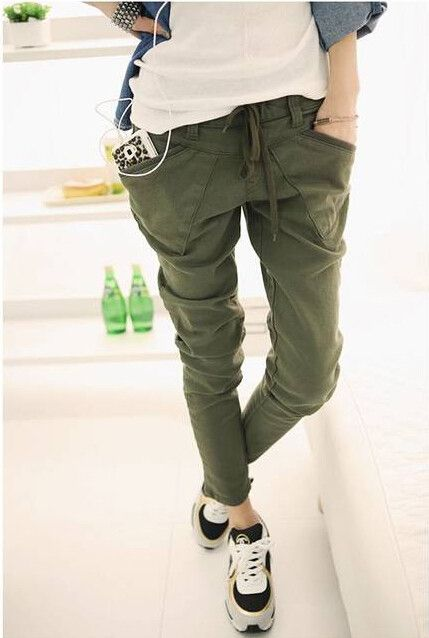3 Color Plus Size S  XXL Women Trousers Elastic Waist Long Pant Casual Stretch Small Leg Baggy Army Green Loose Harem Pants-in Pants & Capris from Women's Clothing & Accessories on Aliexpress.com | Alibaba Group