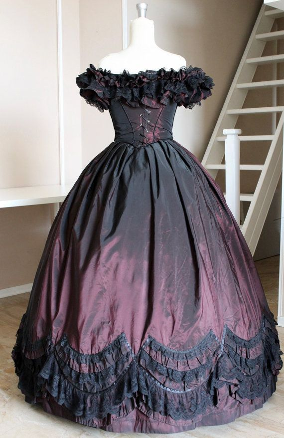 Ball gown Victorian dress Burgundy with black lace by SecretTimes