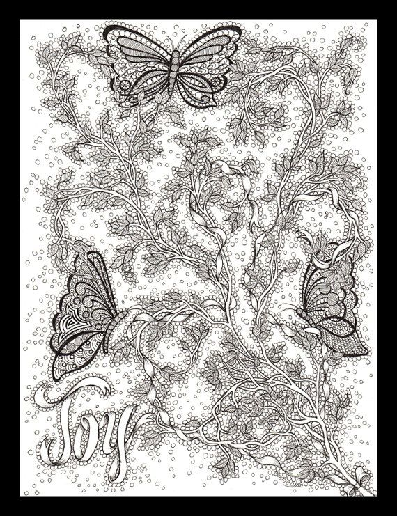 Original Pen and Ink Drawing of Butterflies, Vines      and a Ribbon that spells Joy