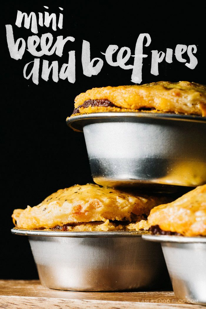 Mini Beef and Beer Hand Pies with a Cheddar Cheese Crust