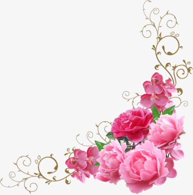 Pink Flowers Decorate The Corners Pink Flowers Decoration Png Image Flower Decorations Flower Clipart Pink Flowers