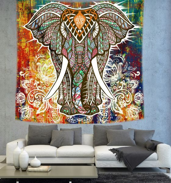 Elephant Mandala wall tapestry mandala art by Christinedecorshop
