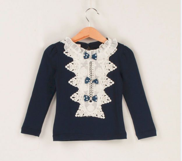 Girls navy blue ruffle top with bows long sleeve BNWT Age 3/4 years