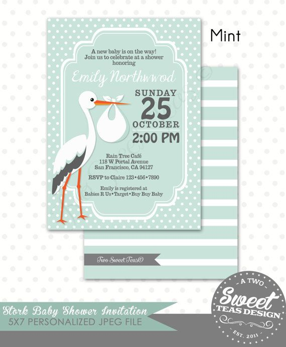 Stork Baby Shower Invitation Pink Blue Yellow Mint By 2SweetTeas