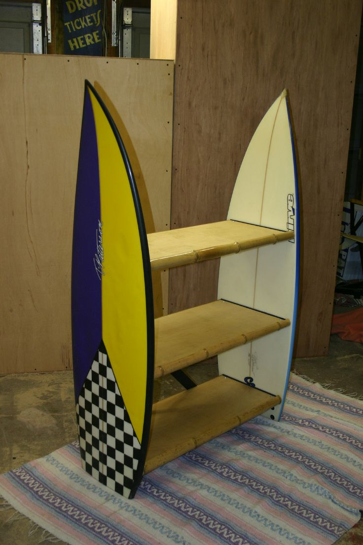 surfboard furniture. bookshelves made from two surfboards the shelves are of oak and front edging surfboard furniture pinterest
