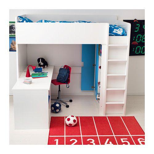 STUVA ロフトベッドフレーム デスク&収納付き(引き出し×3/扉×2) - ホワイト/ブルー - IKEA