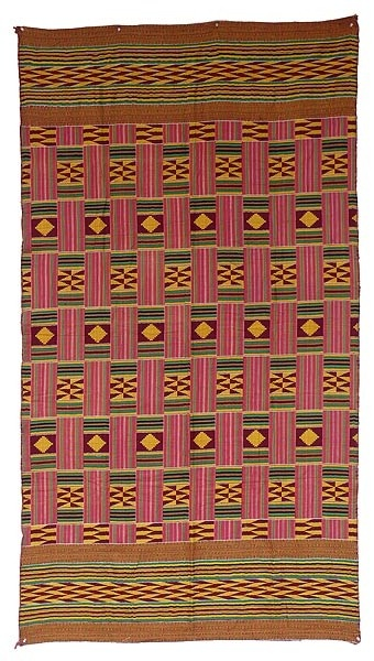 Africa | Ashante Kente Style Cloth, purchased in Ghana | It mimics the form and pattern of a Kente but is woven from cotton in two large pieces, different front and back, not strip-woven. It was purchased with other Kentes so it is probably from the Asante people.