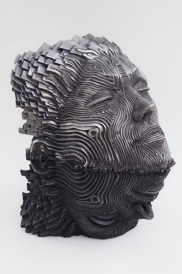 Texas-based sculptor Gil Bruvel manipulates ribbons of cast stainless steel to create spectacular figurative sculptures for his Flow series. Each form is energized with fluid, flowing lines of metal that appear all-at-once sturdy and fragile.