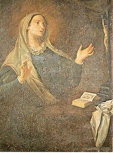 Caterina Fieschi ( Genova, 1447 - 1510 ). Sposata col principe Giuliano Adorno, trascorse dieci anni di vita spensierata e mondana, fino alla conversione ( visione mistica del 1473 ), che coinvolse anche il marito. Decisero infatti di andare a vivere in una casa modesta e dedicarsi a opere di misericordia, assistendo poveri e malati.Santa Caterina da Genova è conosciuta anche come Dottoressa del purgatorio, per essere stata l'autrice del Trattato del purgatorio.