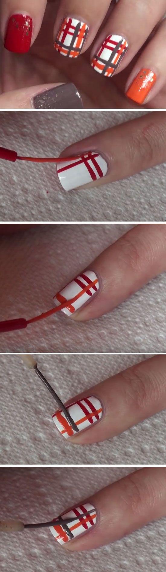 Pretty as Plaid | Cute Thanksgiving Nail Art Designs for Beginners