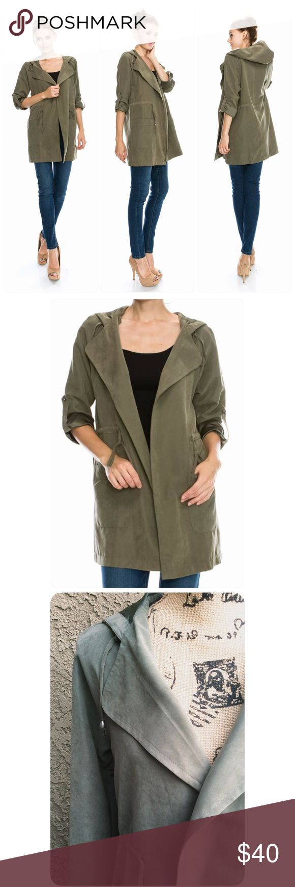 Olive Trench Coat with Hood Olive green Super Comfy and very soft Light Trench coat with hood. Roll up sleeves with button. Pockets up front. These beautiful jackets came without a tag. Different sizes available 😊 Jackets & Coats Trench Coats