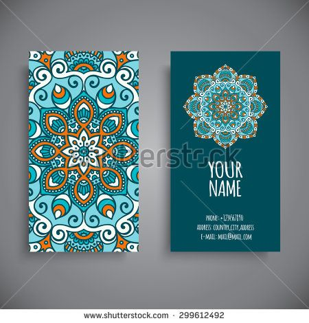 Business Card. Vintage decorative elements. Ornamental floral business cards, oriental pattern, vector illustration.  Islam, Arabic, Indian, turkish, pakistan, chinese, ottoman motifs. - stock vector