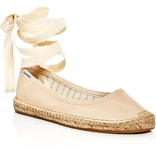Soludos Leather Lace Up Espadrille Ballet Flats ($99) ❤ liked on Polyvore featuring shoes, flats, nude, nude ballet shoes, ballet pumps, soludos espadrilles, ballet flats and nude ballet pumps