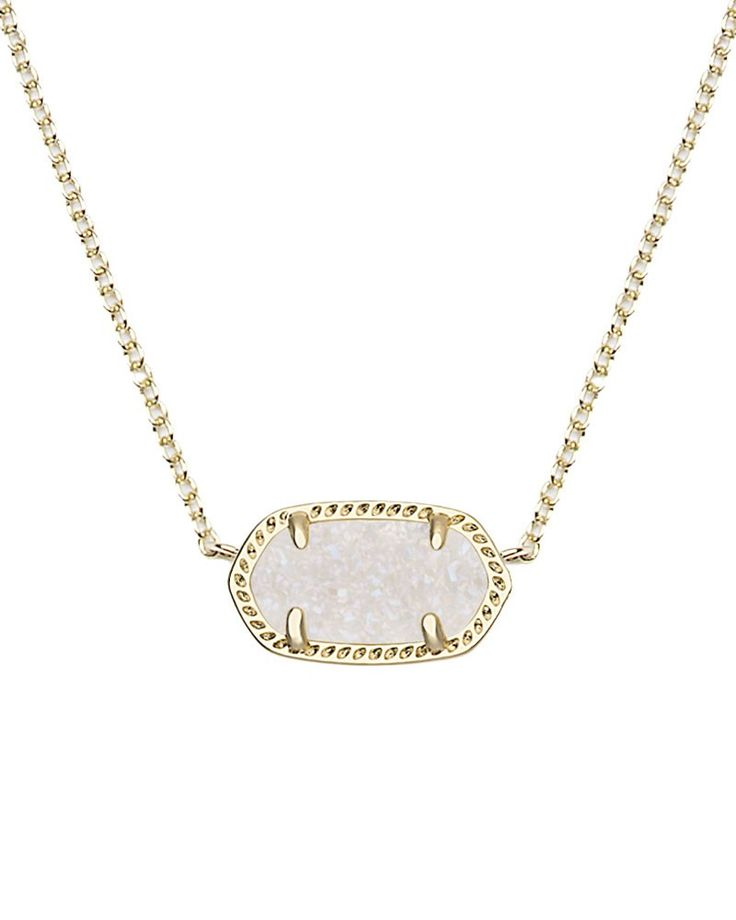 Elisa Gold Pendant Necklace in Iridescent Drusy - A delicate chain and oval shaped stone make this small necklace the perfect accessory.  A sparkling drusy adds a touch of flair.