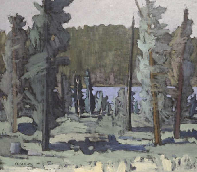 """Stanley Morel Cosgrove  Stanley Morel Cosgrove, RCA (1911-2002, Can.) (Ref.: Bénézit) Trees by a lake Oil on canvas Signed lower left. 28"""" × 32""""  Estimate ($): 7000 - 7500"""