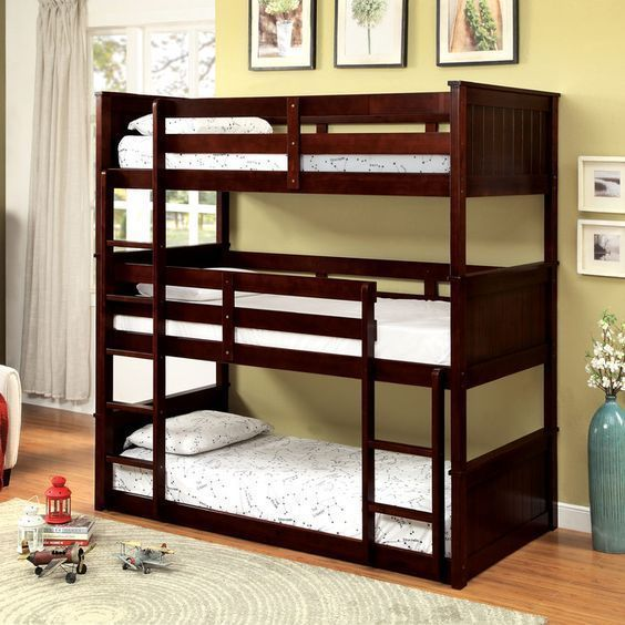 Features:  Youth Bunk Bed Cappuccino Finish Perfect for Small Room Split bed up in to beds as they grow up, in to their own rooms Bunkie board not required Solid pine wood Assembly Required Don't miss your chance to own this beautiful piece at a discounted price!  Item Description:  Triple twin bunk bed finished in cappuccino. The ultimate space saver for small rooms. Multiple configurations to suit every household. Split bed up in to beds as they grow up, in to their own rooms. Bunkie board…