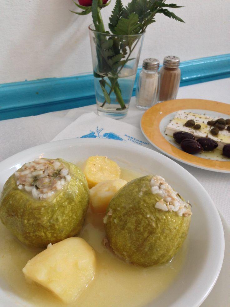 Stuffed zucchini, another yummy Santorinian dish!