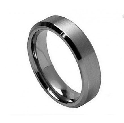 Titanium Wedding Band for Men - Titanium Ring Brushed Center Beveled Edge. $45.99, via Etsy.