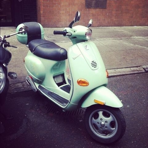 mint green scooter- Saw a gal today riding this and she had on Bling Helmet....really looked great