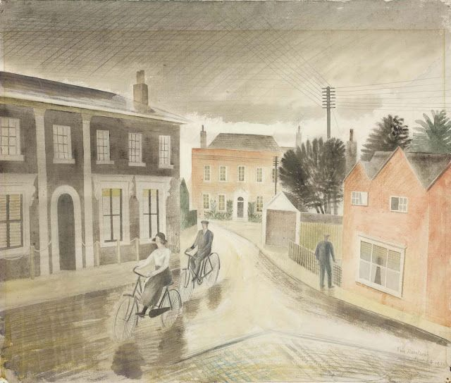 """""""Village Street"""" by Eric Ravilious, 1936 (graphite and watercolour) . The village pictured is Castle Hedingham in Essex, where Ravilious and his family lived in the 1930s."""