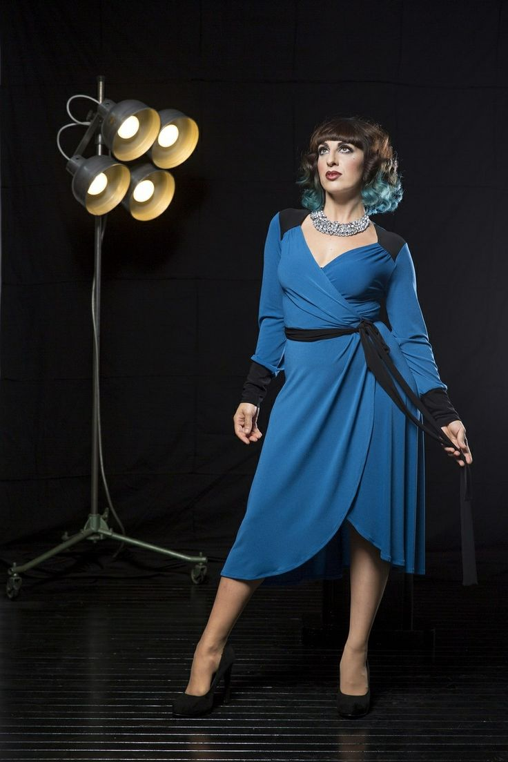 Polly is wearing the 'Marguerite' wrap dress in 'azure'. www.sprinkle.com.au