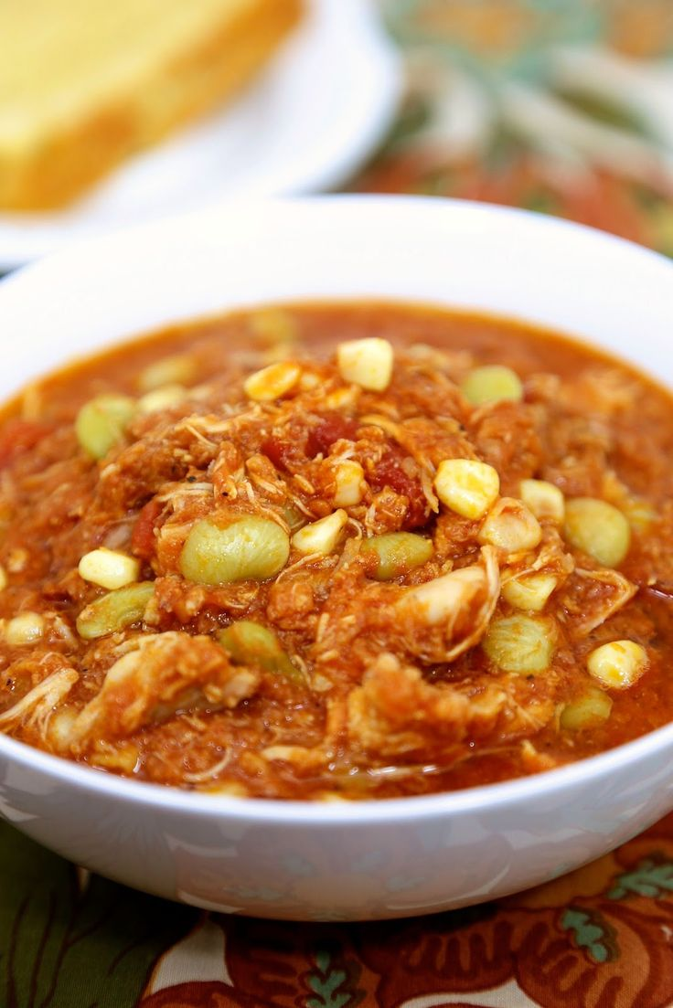 Brunswick Stew - ready in about 20 minutes! pulled pork, chicken, lima beans, corn, tomatoes and BBQ sauce - we made this two weeks in a row. We can't get enough of it! Great freezer meal too!