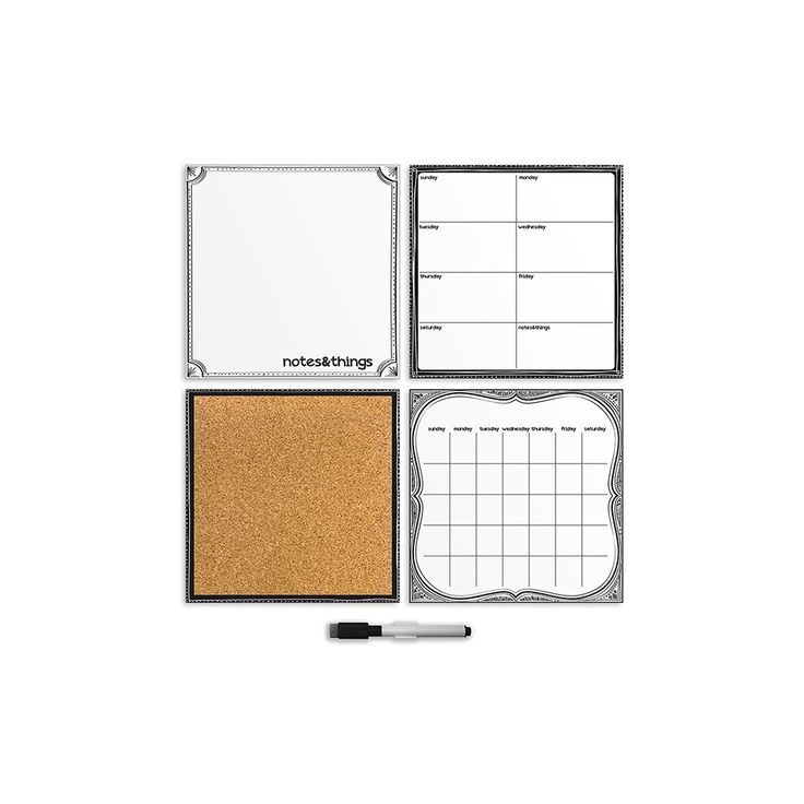 Wall Pops! Dry Erase Calendar And Cork Board Set