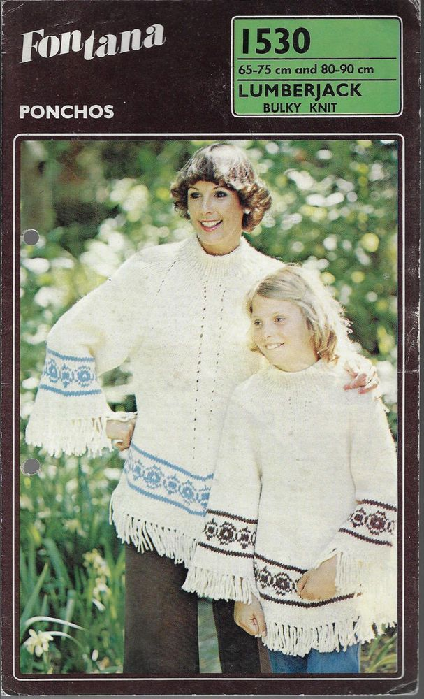 438c07d0434f43 Women   Girl s Ponchos Fontana 1530 knitting pattern winter chunky yarn   Fontana