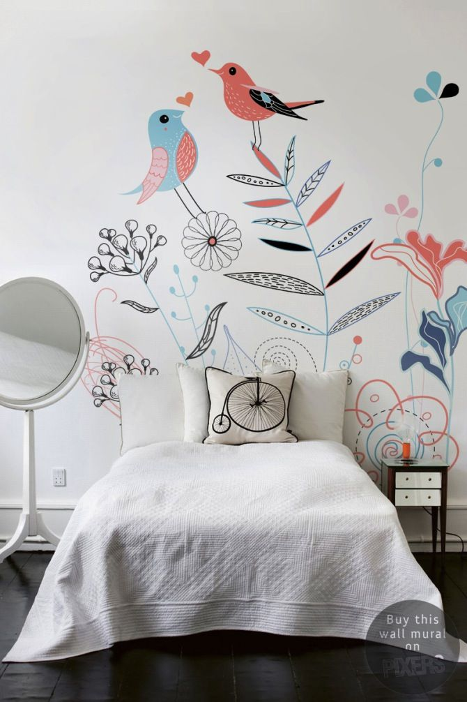 deco chambre fille papier peint fleurs et oiseaux le blog d co de mlc floral 1 pinterest. Black Bedroom Furniture Sets. Home Design Ideas
