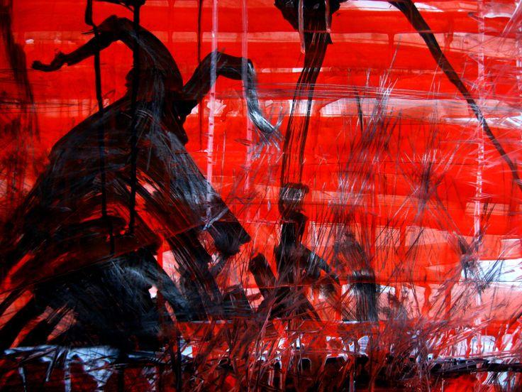 L'Infernal époux. Encre et acrylique sur papier, 70X110 cm. 2011.