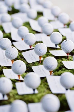 A fun idea for a summer wedding between 2 golfers! *grin*  Golf Ball place cards