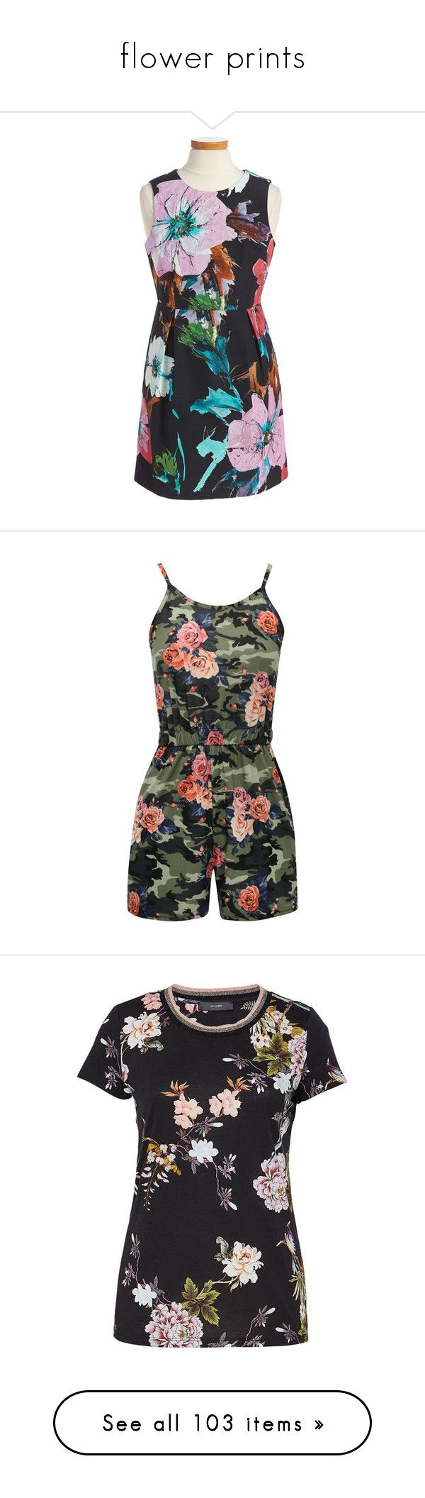 """flower prints"" by tinkertot ❤ liked on Polyvore featuring jumpsuits, rompers, jumper, shorts, playsuit romper, spaghetti strap romper, camouflage romper, camo romper, floral romper and tops"