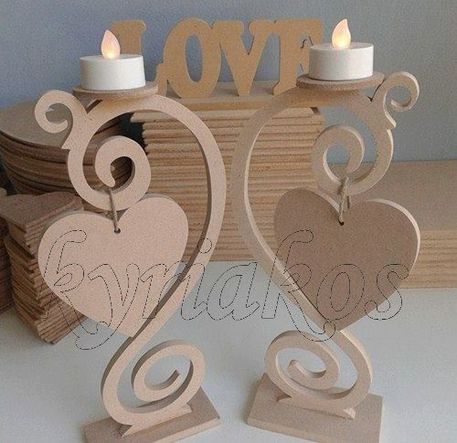 Wooden candlesticks with decorative hearts made of MDF 6 '' at 27cm height. In the position of the heart …