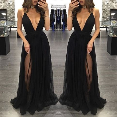 Black deep V-neck tulle long prom dresses,evening dress,formal dress sold by Formal  Dress. Shop more products from Formal  Dress on Storenvy, the home of independent small businesses all over the world.