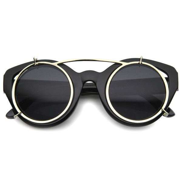 Oversized steampunk inspired sunglasses that feature clip on lenses. Extremely unique design that are sure to stand out and make a statement.