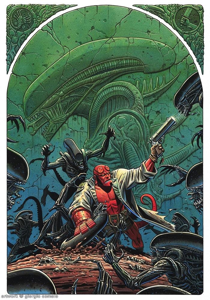 Hellboy vs. Aliens by Giorgio Comolo