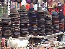 Traditional Handmade hats for sale at the Otavalo Artisan Market in the Andes Mountains of Ecuador