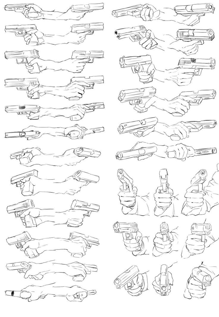 hand reference pose gesture weapon gun