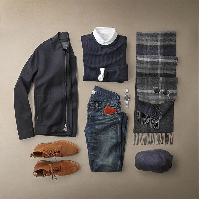Blue days with a touch of suede.  Jacket: @vince Raw Edge Wool/Cashmere Utility Jacket Boots: @r.m.williams_official Gibson Boot in Tobacco Suede Sweater: @nonationality07 Rib Crew Watch: @hamiltonwatch Seaview Date/Date Auto Shirt: @alexmillny Hat: @varsityheadwear Wool Scarf: @thetiebar Wallet: @miansai Denim: RRL @ralphlauren