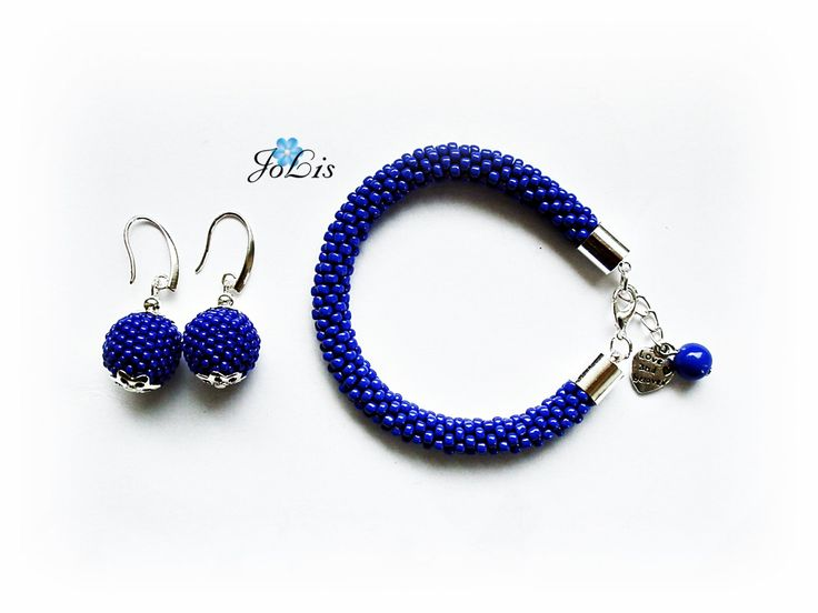 Set Of Earrings And Bracelet Jewelry Beads Toho Trendy Gift Sapphire birthsone Sapphire birthday gift September birthstone by MadeByJoLis on Etsy