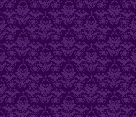 Skull Damask Purple/Purple fabric by sewannabutton on Spoonflower - custom fabric