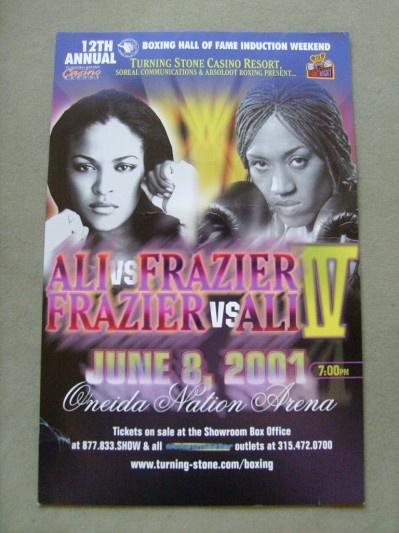First Pay Per View Boxing Card to Headline Women. Laila Ali Vs Jacqui Frazier Iv Advertisement Fight Postcard || Boxing ...