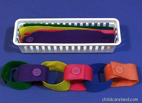 Felt Button Chain ... another great fine motor activity.